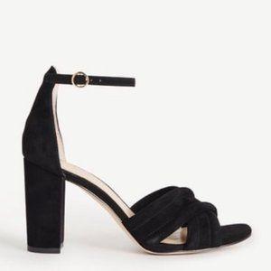 Ann Taylor Gillian Suede Block Sandal Heel Black